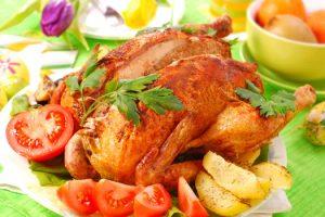 Жаренная курица и картошка